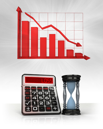 hourglass with negative business calculations and graph illustration