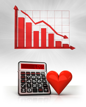 red heart with negative business calculations and graph illustration illustration