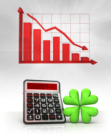 happiness icon with negative business calculations and graph illustration illustration
