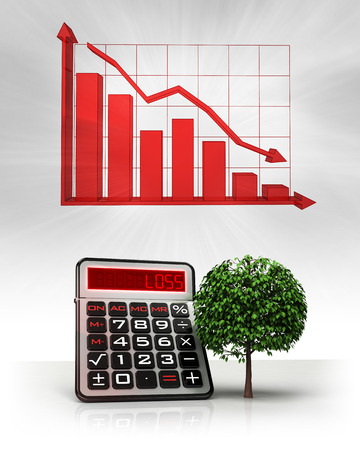leafy tree with negative business calculations and graph illustration illustration