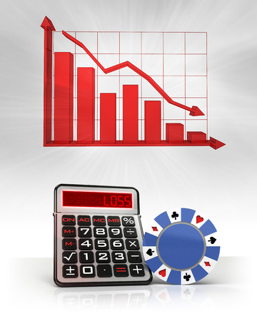 poker chip with negative business calculations and graph illustration illustration