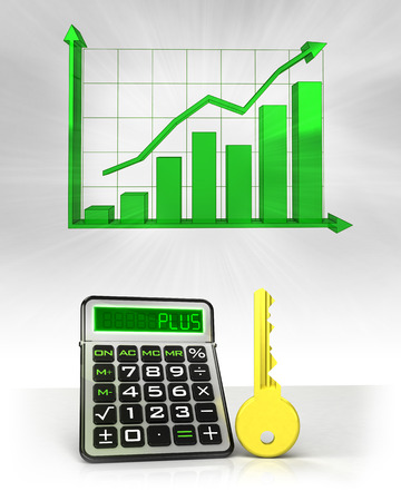golden key to positive business calculations with graph illustration illustration