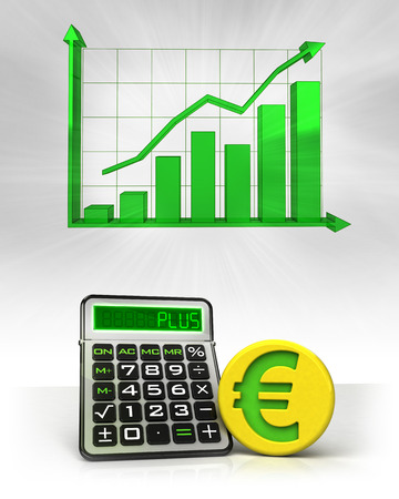 Euro golden coin with positive business calculations with graph illustration illustration