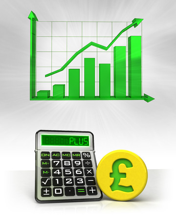 Pound golden coin with positive business calculations with graph illustration illustration