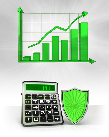 green shield with positive business calculations with graph illustration