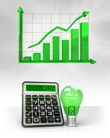 green lightbulb with positive business calculations with graph illustration illustration
