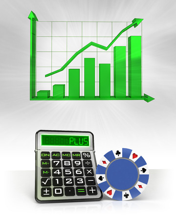 roulette online: poker chip with positive business calculations with graph illustration Stock Photo