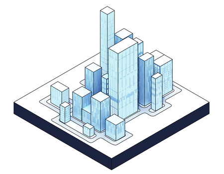 isometric view to isolated office city 04 illustration illustration