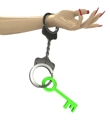 criminality: green key in chain as criminality concept double illustration