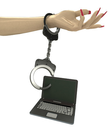 new laptop attached with chain to human hand illustration illustration