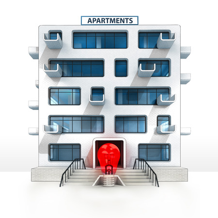 red lightbulb in front of isolated apartment building illustration illustration