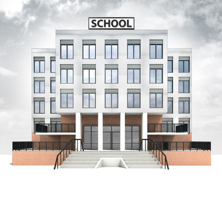 school building design front facade with sky illustration illustration