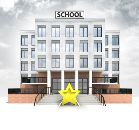 top rating star in front of modern school building with sky illustration illustration