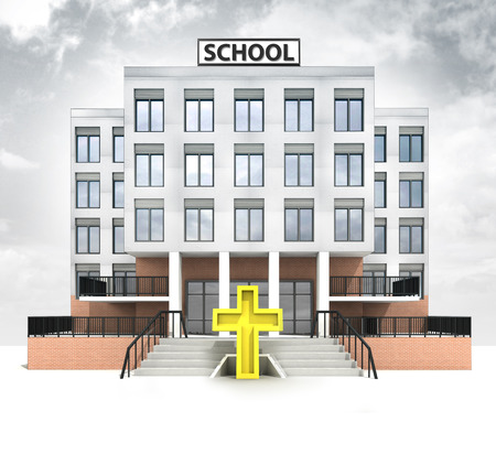 golden cross in front of modern school building with sky illustration illustration