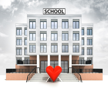 love sign in front of modern school building with sky illustration illustration