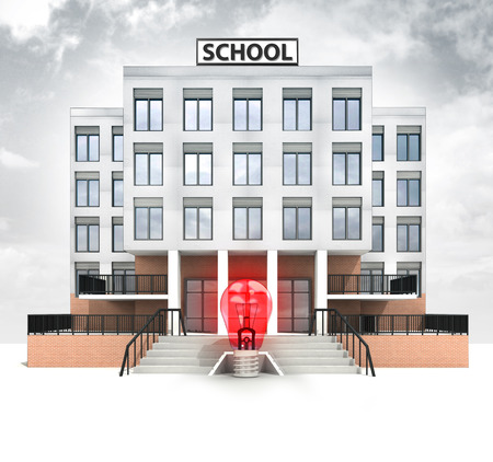 red lightbulb in front of modern school building with sky illustration illustration