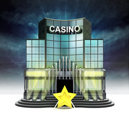 top rating star in front of illuminated casino at night illustration Stock Illustration - 28538304