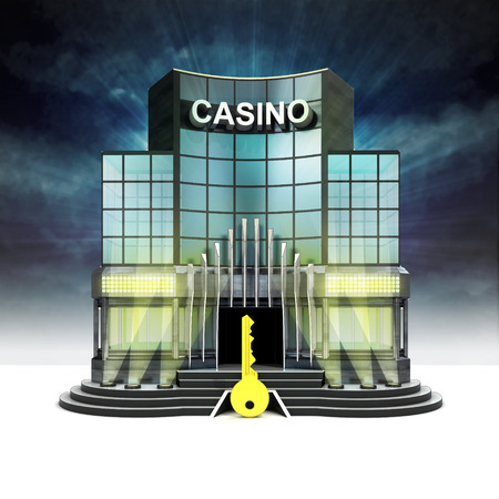 golden key in front of illuminated casino at night illustration Stock Illustration - 28538306