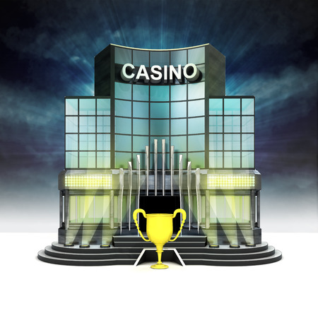champion cup in front of illuminated casino at night illustration illustration