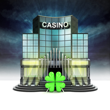 felicity: happiness sign in front of illuminated casino at night illustration