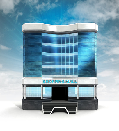 shopping centre: shopping mall centre house with blue sky illustration