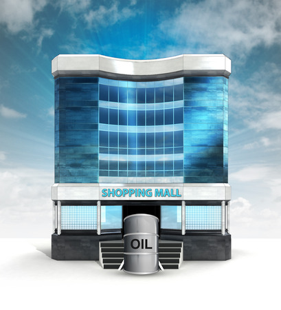 oil barrel in front of shopping mall building with sky illustration illustration