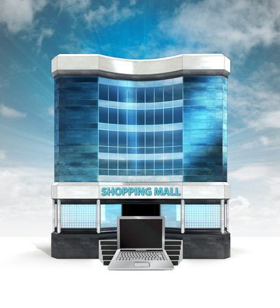 laptop object in front of shopping mall building with sky illustration illustration