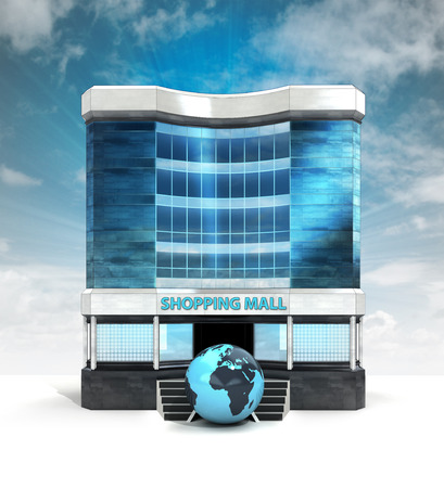 African world globe in front of shopping mall building with sky illustration illustration