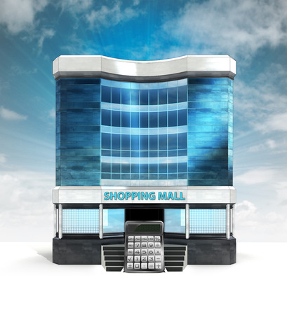 calculator in front of shopping mall building with sky illustration