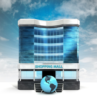 American world globe in front of shopping mall building with sky illustration illustration
