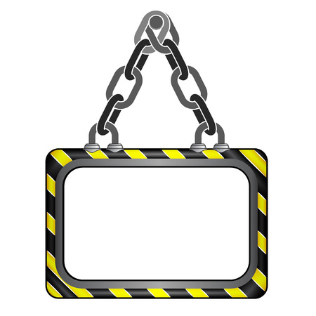 black and yellow: center hanged black yellow striped chain board vector template illustration