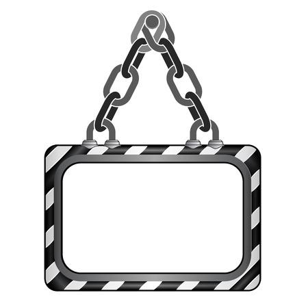 center hanged black striped chain board vector template illustration Vector