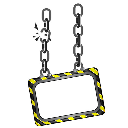 black and yellow: cracked black yellow striped chain board vector template illustration