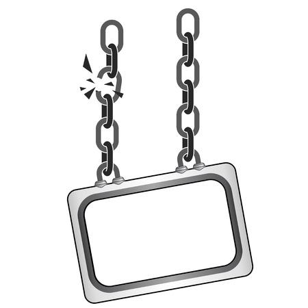 isolated cracked metallic chain board vector template illustration Vector