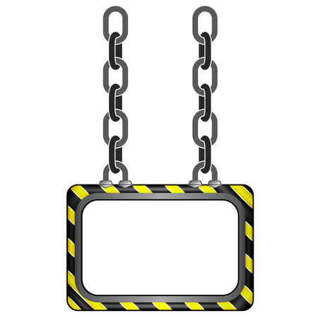 hanged black yellow striped chain board vector template illustration Vector