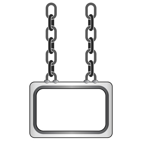 isolated hanged metallic chain board vector template illustration Vector