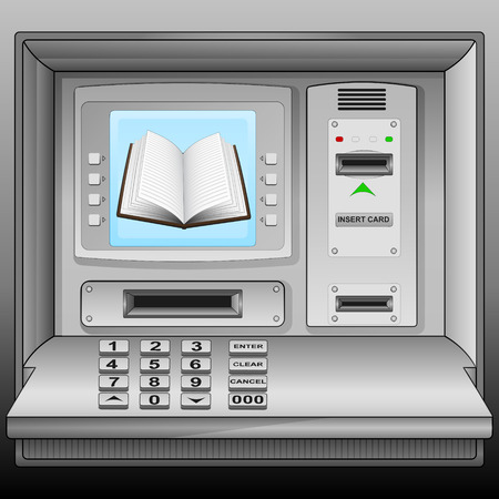 cash book: open book on cash machine blue screen vector illustration