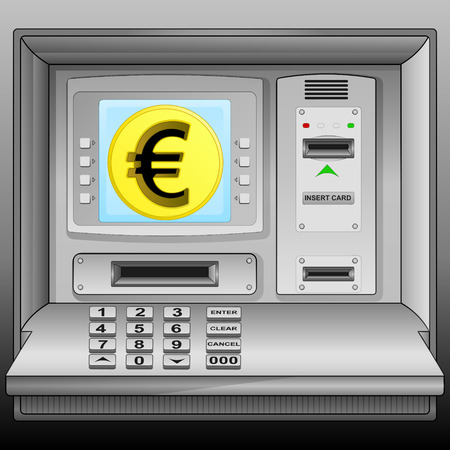 golden Euro coin on cash machine blue screen vector illustration Vector