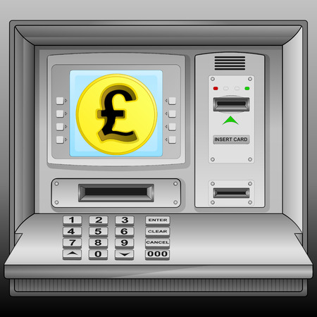 golden Pound coin on cash machine blue screen vector illustration Vector