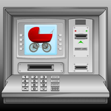 cash machine: girl red pushchair on cash machine blue screen vector illustration