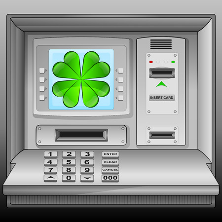 felicity: cloverleaf happiness on cash machine blue screen vector illustration