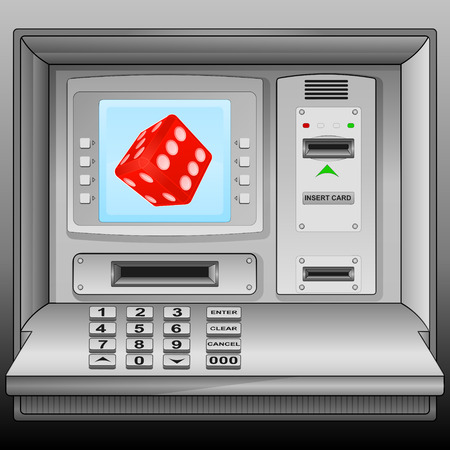 lucky red dice on cash machine blue screen vector illustration Vector