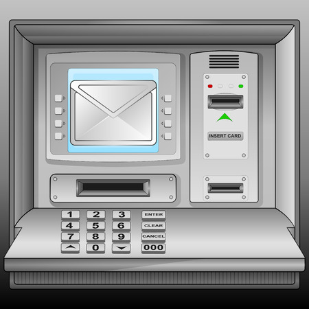 email message on cash machine blue screen vector illustration Vector