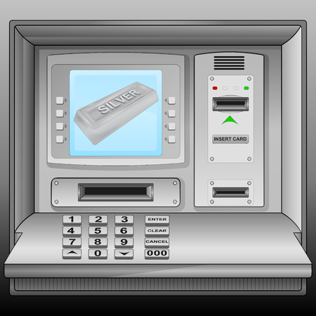 silver bar: silver bar on cash machine blue screen vector illustration