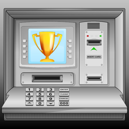 champion cup on cash machine blue screen vector illustration Stock Vector - 28736569