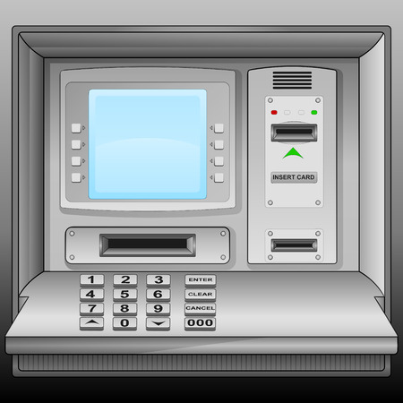 cash machine with blue blank screen vector illustration Stock Vector - 28736519