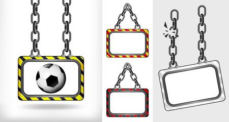 impiccata: calcio sulla catena appeso bordo raccolta illustrazione vettoriale Vettoriali