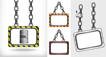 oil barrel on chain hanged board collection vector illustration Vector