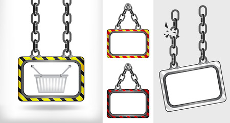 shopping basket on chain hanged board collection vector illustration Vector