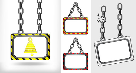golden bell on chain hanged board collection vector illustration Vector